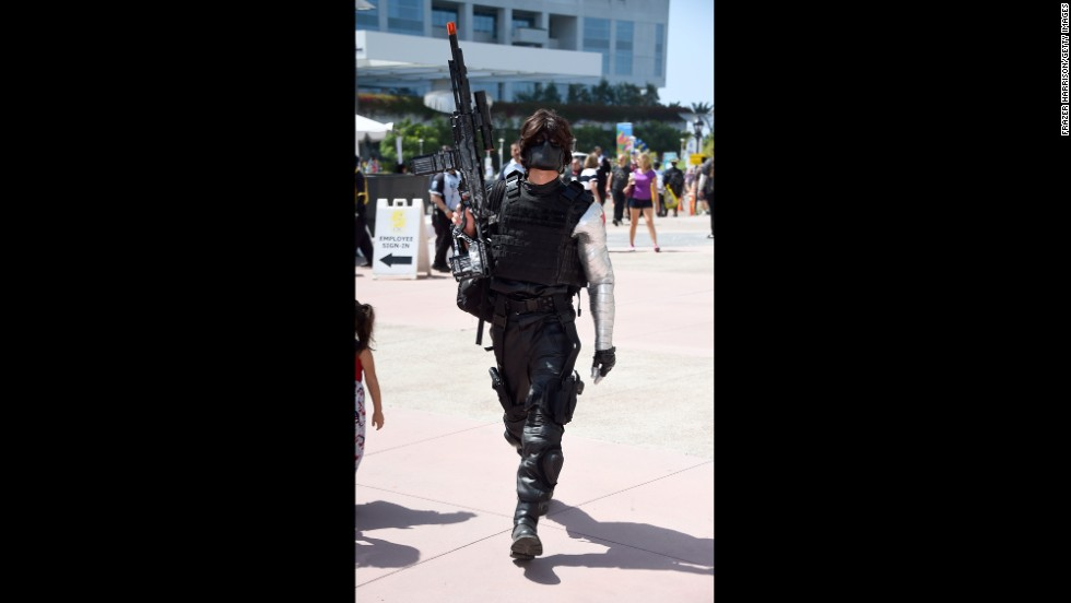 The Winter Soldier was seen on the prowl on July 26 outside the convention center.