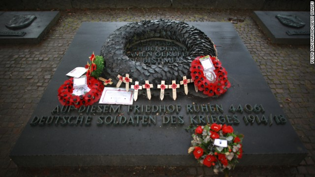 Wreaths and crosses are placed near the entrance of the German Langemark cemetery on March 26, 2014 in Poelkapelle, Belgium.