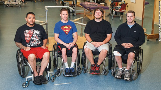Andrew Meas, from left, Dustin Shillcox, Kent Stephenson and Rob Summers underwent epidural stimulation at the Human Locomotion Research Center in Louisville, Kentucky.