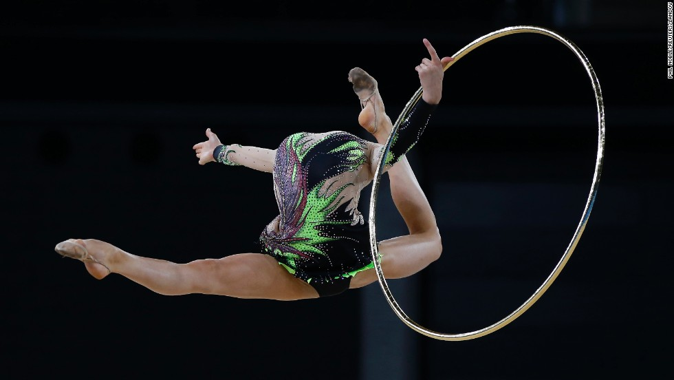 Laura Halford of Wales jumps during her routine as she competes in the individual all-around final of rhythmic gymnastics Friday, July 25, at the Commonwealth Games in Glasgow, Scotland. Halford finished third behind Canadian winner Patricia Bezzoubenko and Welsh silver-medalist Francesca Jones.