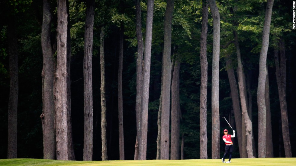 Japanese golfer Mamiko Higa watches a shot Sunday, July 27, during the final round of the International Crown event played at Cave Valley Golf Club in Owings Mills, Maryland. Japan finished tied for third in the inaugural eight-country competition, which was won by Spain.