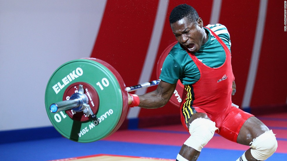 Nigerian weightlifter Rasaq Tanimowo competes at the Commonwealth Games in Glasgow, Scotland, on Thursday, July 24.
