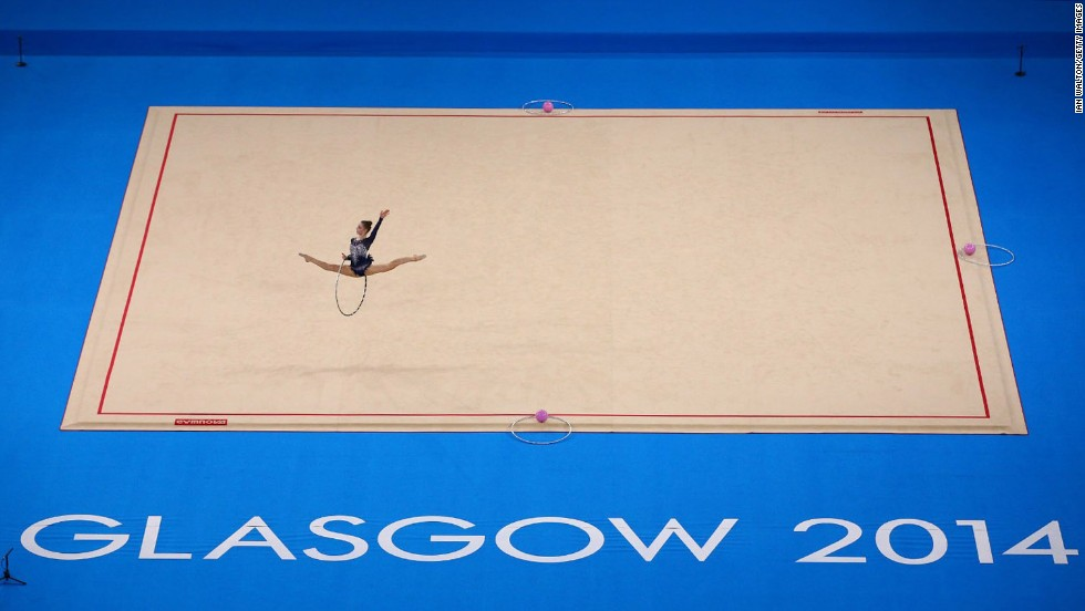 Amy Quinn of Australia competes in rhythmic gymnastics Thursday, July 24, at the Commonwealth Games in Glasgow, Scotland.