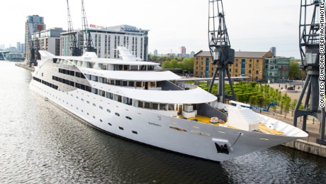 London's new superyacht hotel, in Royal Victoria Docks.