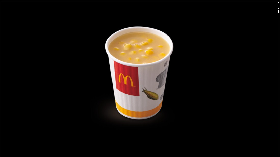This corn soup is a specialty at McDonald's Taiwan. McDonald's in Hong Kong, Singapore, and other Asian countries also sell cups of plain corn, if corn soup is too exciting for you.