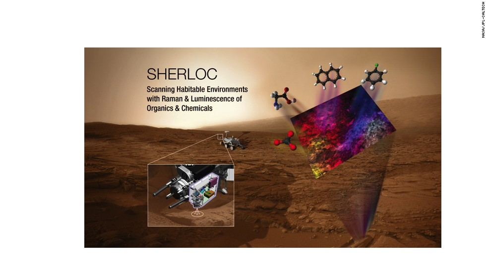SHERLOC will scan for habitable environments by checking soil for organic chemicals.