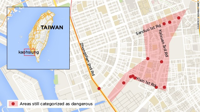 Area of city affected by blasts