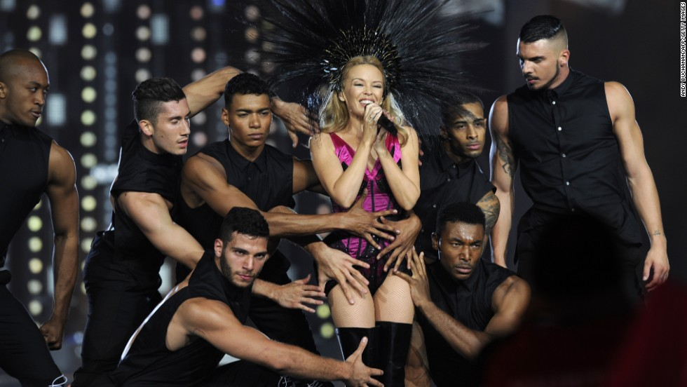 Minogue performs during the closing ceremony. Australia's Gold Coast will be the next host in 2018.