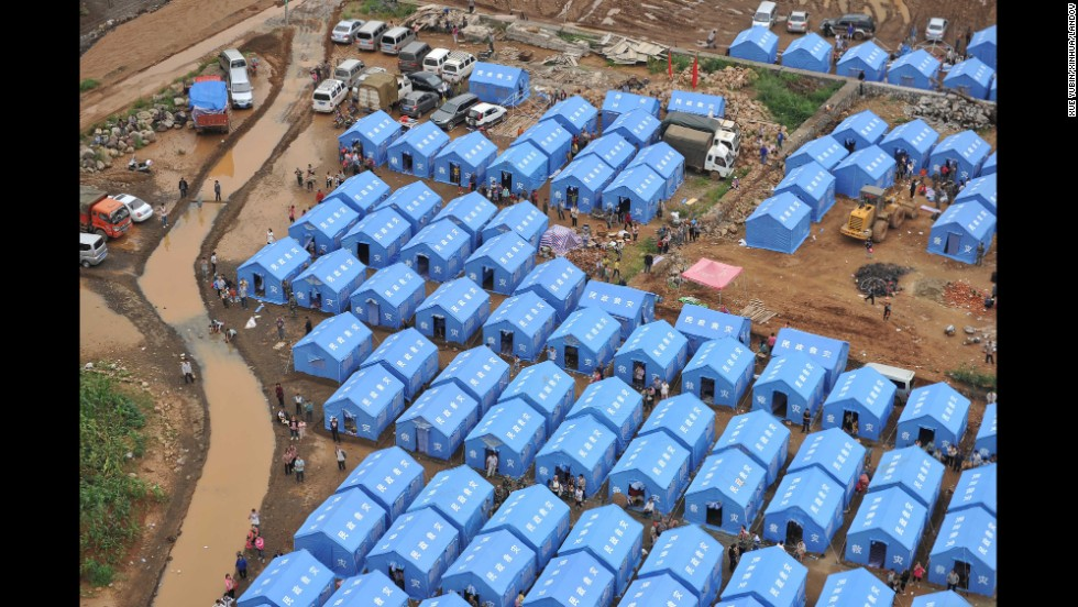 Temporary shelters are set up in Longtoushan on August 4.
