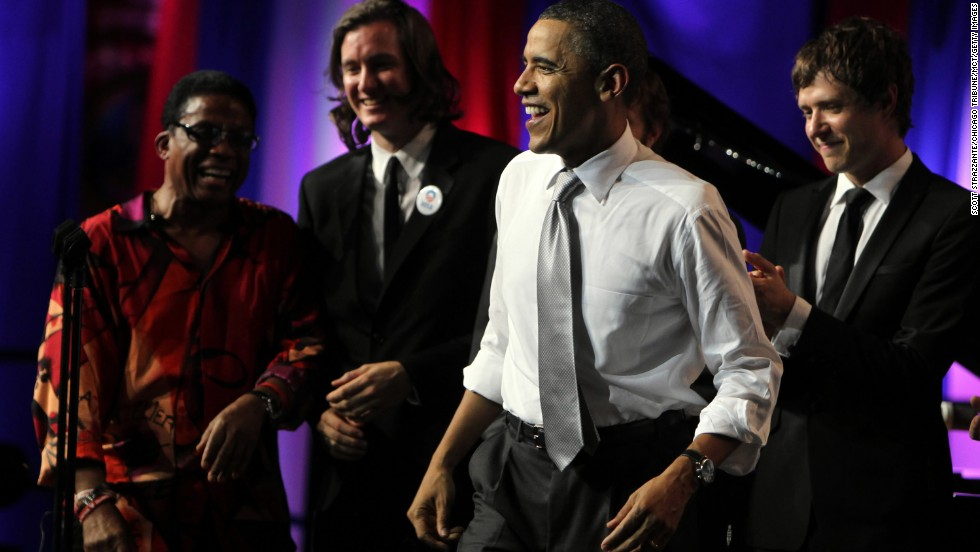 Jazz musician Herbie Hancock, left, and members of OK-go are onstage as President Barack Obama celebrates his 50th birthday in Chicago in August 2011.