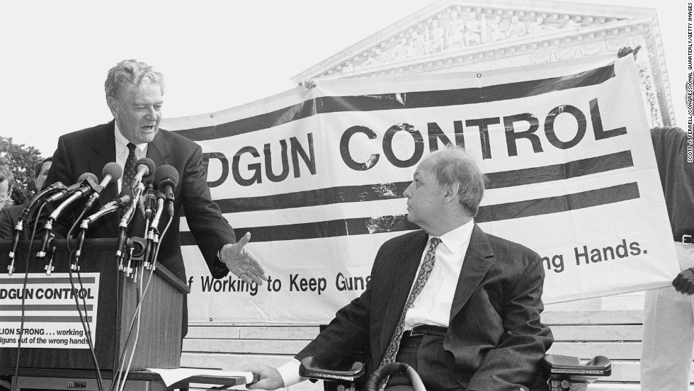 Maryland Attorney General Joseph Curran reaches to shake Brady's hand outside the U.S. Supreme Court in October 1981. After leaving the White House, Brady launched the Brady Campaign to Prevent Gun Violence, which pushes for stricter firearms laws.