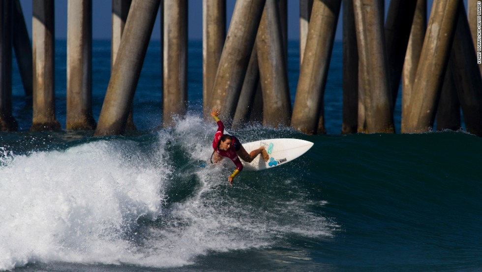 Johanne Defay wins her heat Thursday, July 31, at the U.S. Open of Surfing in Huntington Beach, California. Defay lost in the quarterfinals of the women's event. Australian Tyler Wright defeated Stephanie Gilmore in the final.