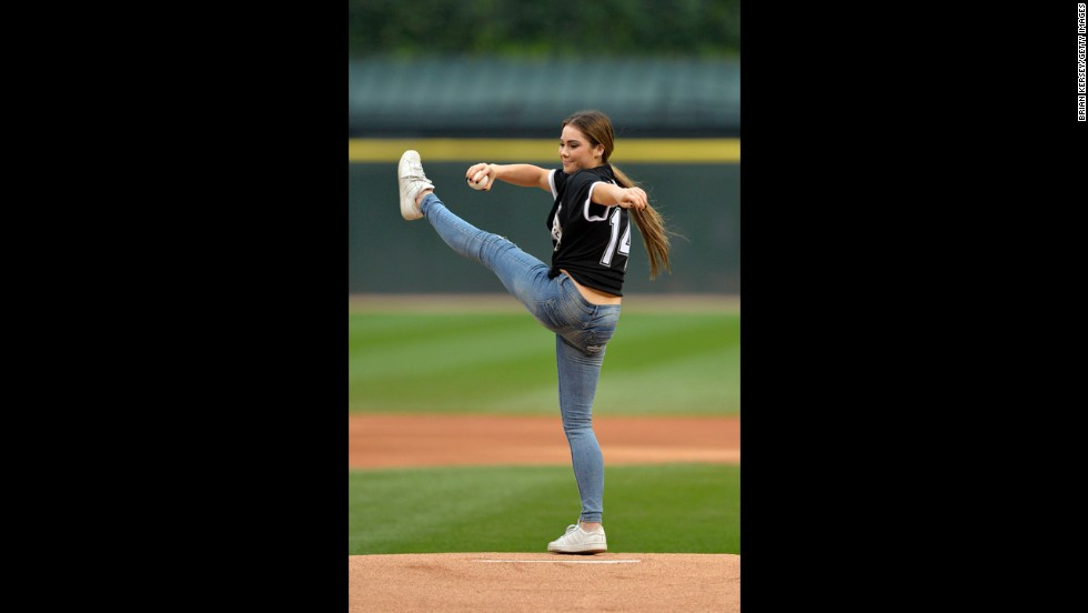 "Olympic gymnast McKayla Maroney throws out the ceremonial first pitch before the Chicago White Sox hosted the Minnesota Twins on Friday, August 1. She included some acrobatics in her pitch, which you <a href=""https://twitter.com/whitesox/status/495438753209384960/photo/1"" target=""_blank"">can see here in a White Sox tweet.</a>"