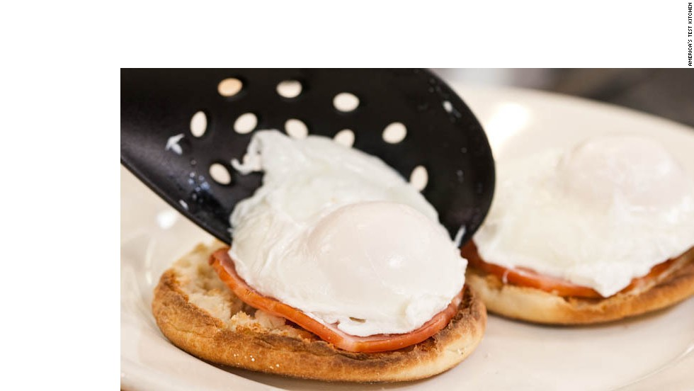 11. Place 2 English muffins on each serving plate. Arrange 1 poached egg on top of each English muffin.