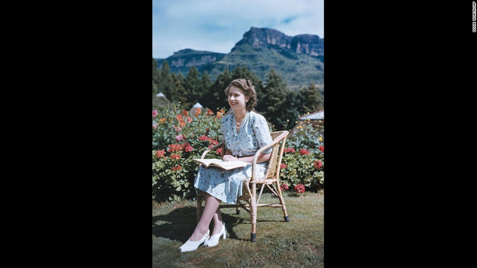 With the Drakensberg Mountains behind her, Princess Elizabeth sits in South Africa's Natal National Park on April 21, 1947, her 21st birthday.