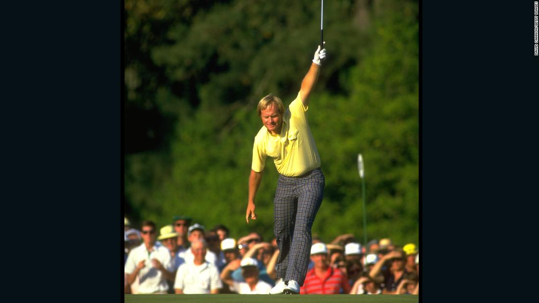 One of the most famous images in golf: Nicklaus rolls in a birdie putt during his victory charge at the Masters in 1986, when -- age 46 -- he became the major event's oldest winner.