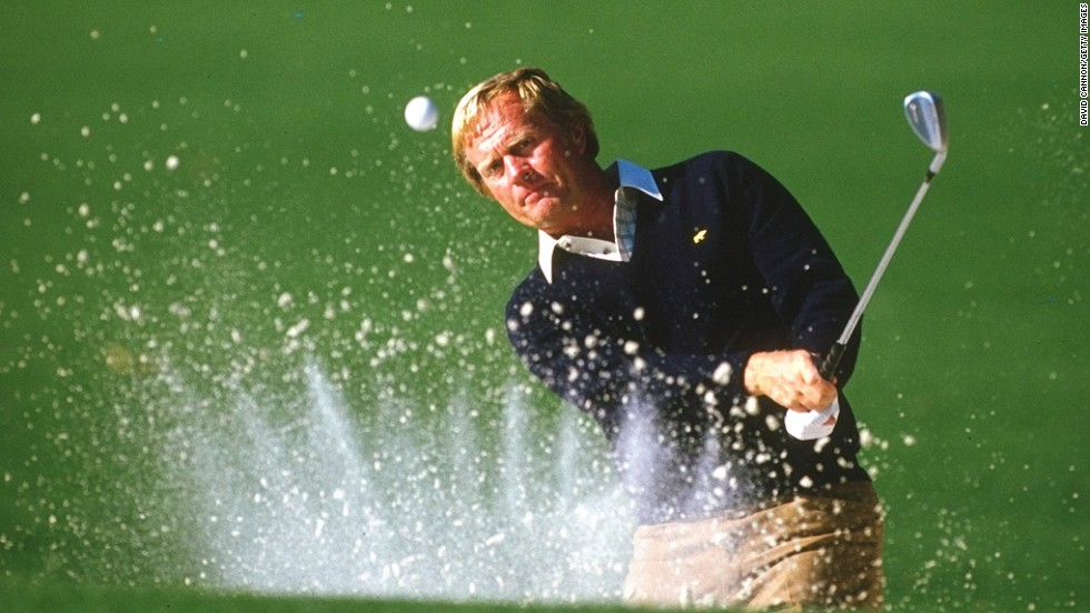 "This snap of Nicklaus practicing at the 1986 Masters, where he won his sixth and final green jacket, was ""a really lucky picture to get because of the way the sand exploded during the shot."" <br /><br />""In 33 years of photographing golf, I have never seen an 'explosion' as perfect as this,"" says Cannon. ""To capture this shot in the same week as he won his final major was a great thrill."""