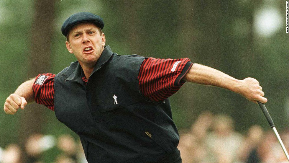 "An emotional Payne Stewart celebrates sinking the winning putt at a rainy Pinehurst in 1999 to claim the U.S. Open, his third and final major title.<br /><br />Stewart would tragically lose his life in a plane crash just months later.<br /><br />""To have taken this image is very poignant and the phrase 'every picture tells a story' is so true as it brings back great memories of one of the truly, brilliantly nice people in golf,"" reflects Cannon."