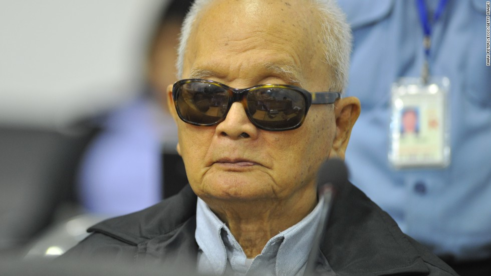 Known as Brother Number Two, Nuon Chea was considered Khmer Rouge leader Pol Pot's right hand man. This is an image from court in 2011.<br />