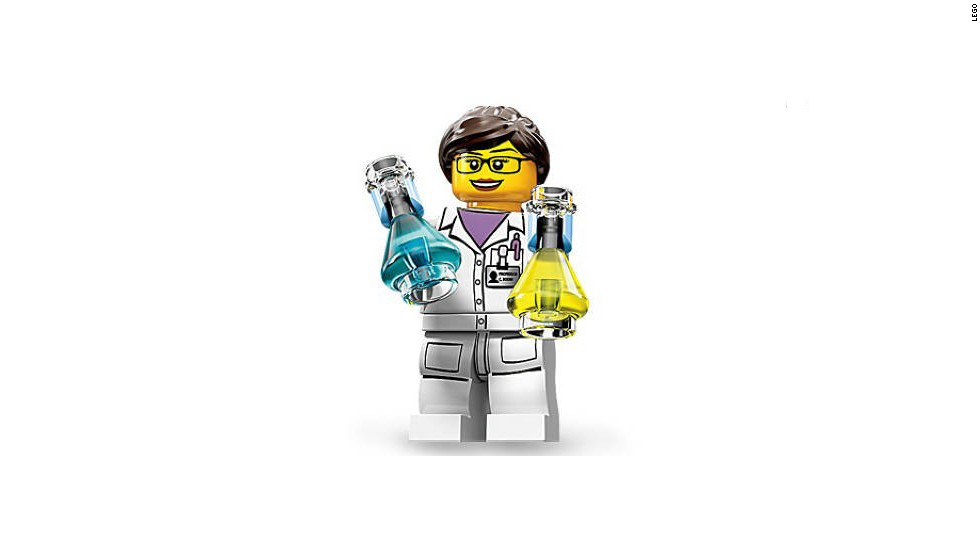The new Lego playset was sold out within a few days. Pictured here is a figure from the set -- a female chemist.