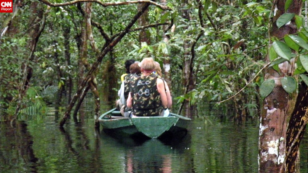 "The Amazon River spans more than 4,000 miles, snaking through Colombia, Peru and Brazil. It's considered the largest river by discharge of water in the world and is a lifeline to local communities, modern cities, and even ancient South American tribes. Tour planner <a href=""http://ireport.cnn.com/docs/DOC-1152172"">Scott Isom</a> traveled along the Amazon in Brazil by canoe and double-decker boats. ""To fly into the city of Manaus and to see the vast size and scope of the Amazon is quite breathtaking,"" he said."