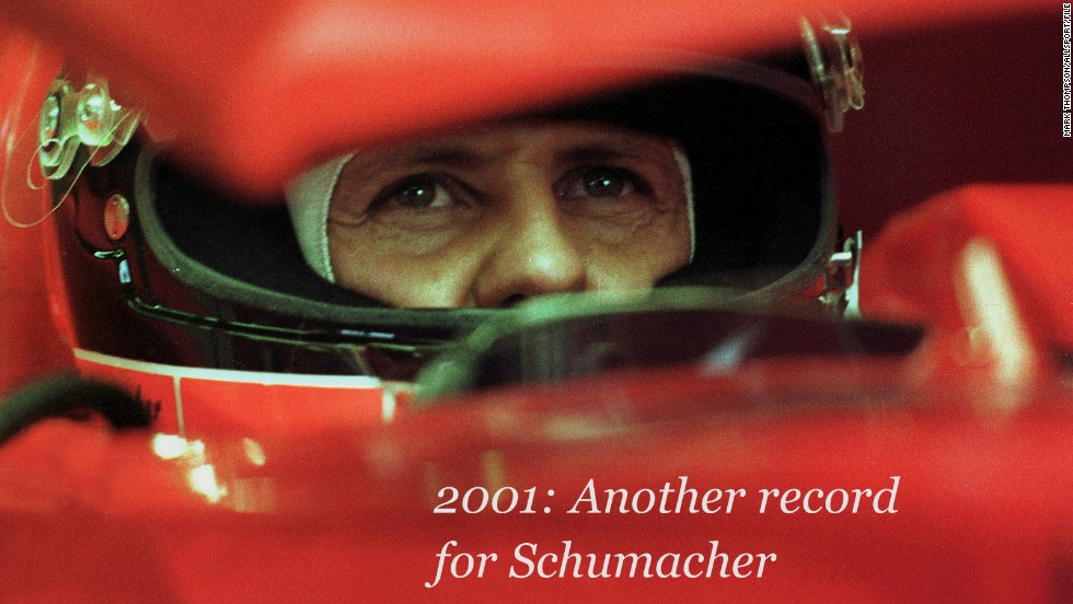 The irrepressible Schumacher scored the fifth of his record six Belgian Grand Prix wins at Spa in 2001.<br /><br />Making that year's triumph extra special was the fact that the Ferrari driver claimed an unprecedented 52nd career F1 victory, one more than previous record-holder Alain Prost.