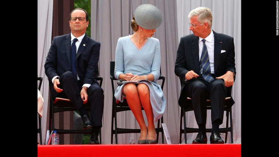 From left, French President Francois Hollande, Belgium's Queen Mathilde and Belgium's King Philippe attend a ceremony at the Cointe Inter-allied Memorial in Liege, Belgium, to commemorate the 100th anniversary of World War I on Monday, August 4.
