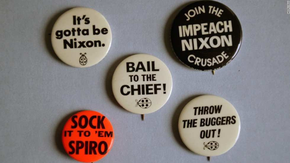 "August 9, 1974, Richard Nixon resigned the presidency in disgrace. That summer brought not only the specter of impeachment hearings on Capitol Hill, but prompted entrepreneurs to produce a series of 'campaign-style' anti-Nixon buttons. Today they are prized by political memorabilia collectors -- a souvenir from that summer of Watergate.<br />Learn how a ""third-rate burglary"" brought down a presidency on ""The People vs. Richard Nixon"" part of the CNN Original Series ""<a href=""/shows/the-seventies"" target=""_blank"">The Seventies</a>,"" Thursdays at 9 p.m. ET/PT."