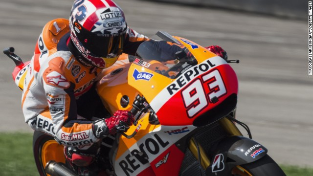 Marc Marquez is in pole position to seal an 11th win of the season at the British MotoGP on Sunday.