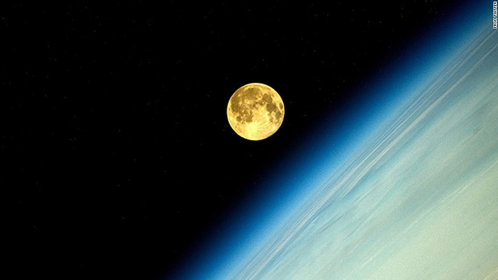 "Russian cosmonaut Oleg Artemyev tweets<a href=""https://twitter.com/OlegMKS/status/498389226841722881/photo/1"" target=""_blank""> a photo of the supermoon</a> taken from the International Space Station."