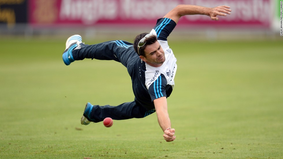 English cricketer James Anderson drops a catch in a training session held before the fourth Test match against India on Tuesday, August 5, in Manchester, England. England won that match to take a 2-1-1 lead in the five-match series.