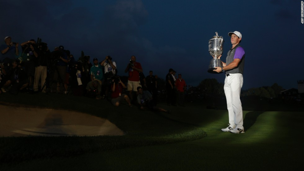 Rory McIlroy holds the Wanamaker Trophy after winning the PGA Championship on Sunday, August 10. It was the second major victory in a row for McIlroy, who also won the British Open last month.