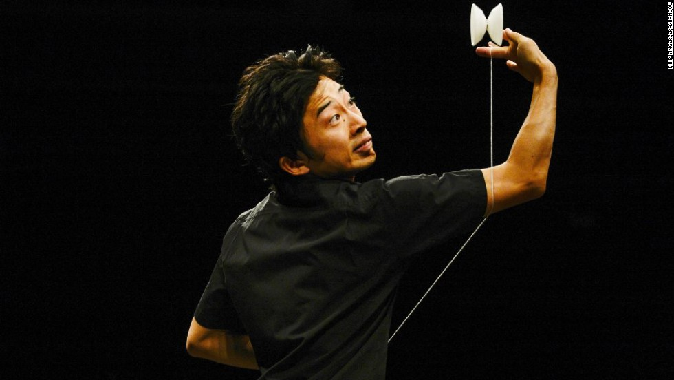"Naoto Akada competes on stage during the World Yo-Yo Contest in Prague, Czech Republic, on Friday, August 8. More than 1,000 players from around the world took part in the event. Californian Gentry Stein won the top 1A category for <a href=""http://time.com/3098988/yo-yo-champion-gentry-stein/"" target=""_blank"">this routine.</a>"
