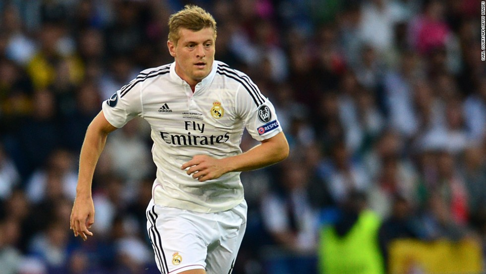 It was the first glimpse of Germany's World Cup-winning midfielder Toni Kroos in the famous white of European Champions League holders Real. The 24-year-old signed from German champions Bayern Munich after his success in Brazil.