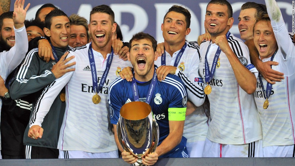 Real Madrid captain Iker Casillas lifts the first trophy of Real's season, with another five on offer.