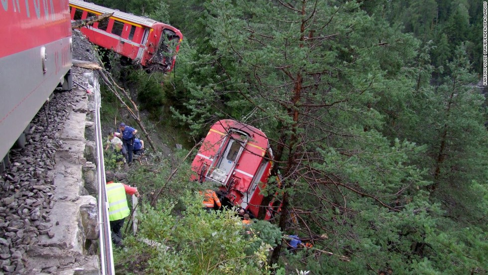The train was headed from St. Mortiz to Chur in eastern Switzerland, said Simon Rageth, spokesman for the Raethische Bahn rail company.