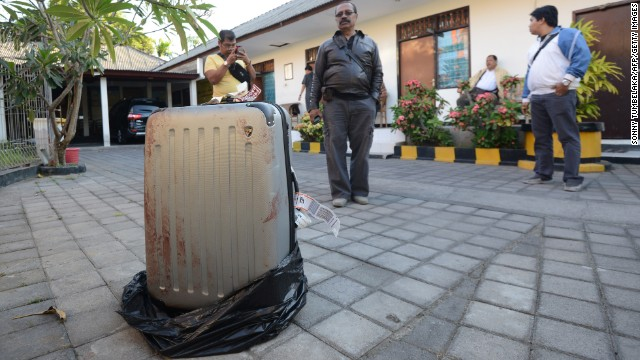The suitcase found to be holding the body of Sheila von Wiese Mack on August 12, 2014.