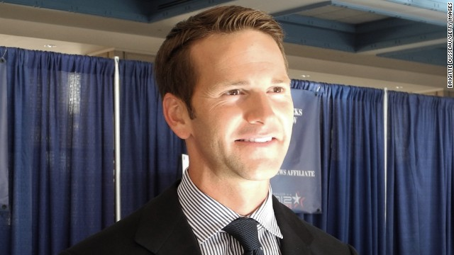 Republican Congressman Aaron Schock of Illinois smiles during an interview with AFP at the Convention Center in Tampa, Florida, on August 28, 2012 during the Republican National Convention.