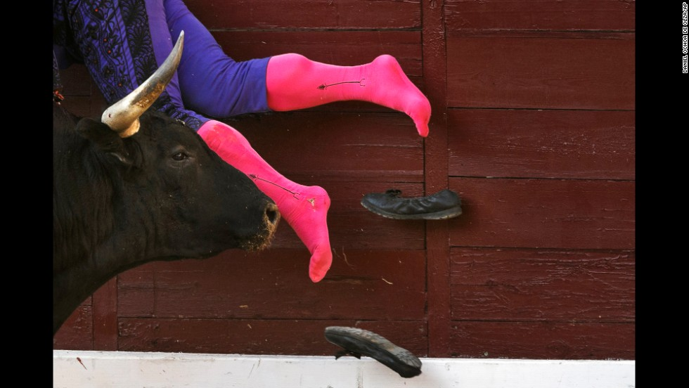 Bullfighter Vicente Cabanes is tossed by a bull during a bullfight in Madrid on Sunday, August 10.
