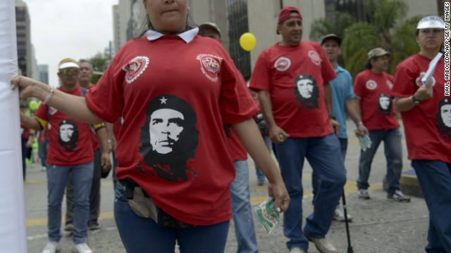 'Che' Guevara's visage is popular with many worldwide. Here, he appears during a May Day protest in Medellin, Colombia.