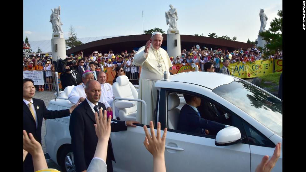 Pope Francis arrives at Solmoe Shrine for Korea's Catholic martyrs in Dangjin, South Korea, on Friday, August 15.