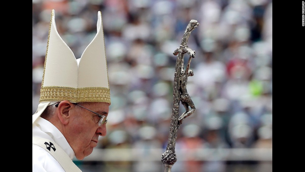 Pope Francis gathers with thousands of the faithful to celebrate Mass in Daejeon, South Korea.