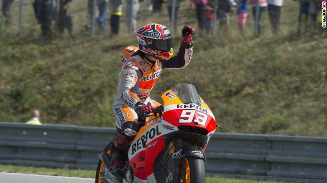 Marc Marquez missed out on a record 11 straight wins, but still leads the standings by 77 points.
