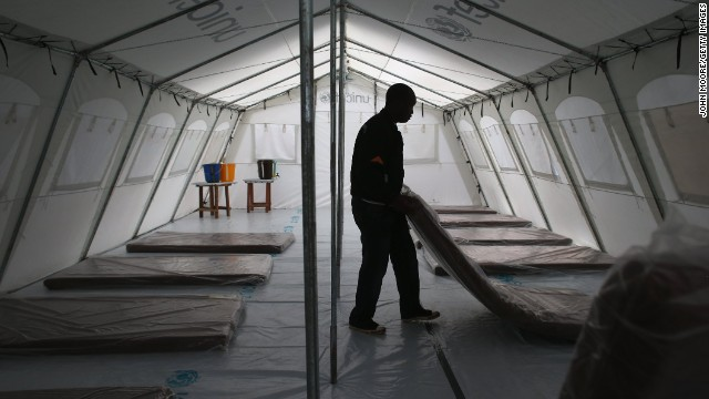 Patients arriving at largest Ebola clinic