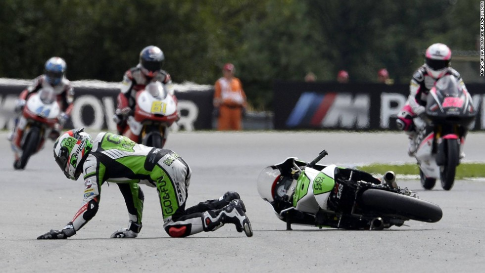 Moto3 rider Enea Bastianini crashes during practice Friday, August 15, in Brno, Czech Republic. He went on to finish second in the actual race.