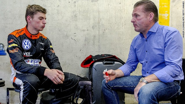 Red Bull's teenage Formula 1 driver Max Verstappen (L) with his father Jos