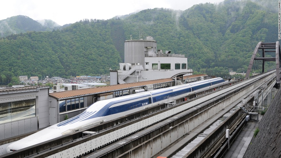 "Floating (just slightly) above the rails of Japan's notoriously speedy train network, the <a href=""http://edition.cnn.com/2013/12/08/business/japan-on-the-road-maglev/"">new L0 series magnetic levitation trains</a> don't need conventional wheels to reach speeds of over 500 km/h (310 mph)."