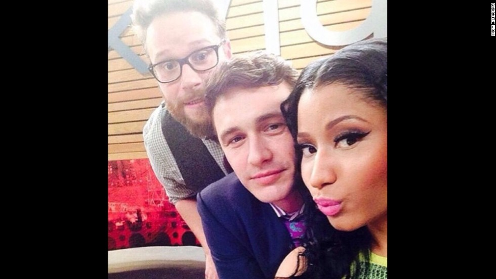 "Actor James Franco, center, poses with rapper Nicki Minaj and actor Seth Rogen in this <a href=""http://instagram.com/p/r0J7v3y9UD/"" target=""_blank"">Instagram selfie</a> Sunday, August 17. Franco and Rogen star in the film ""The Interview,"" which will be released later this year."