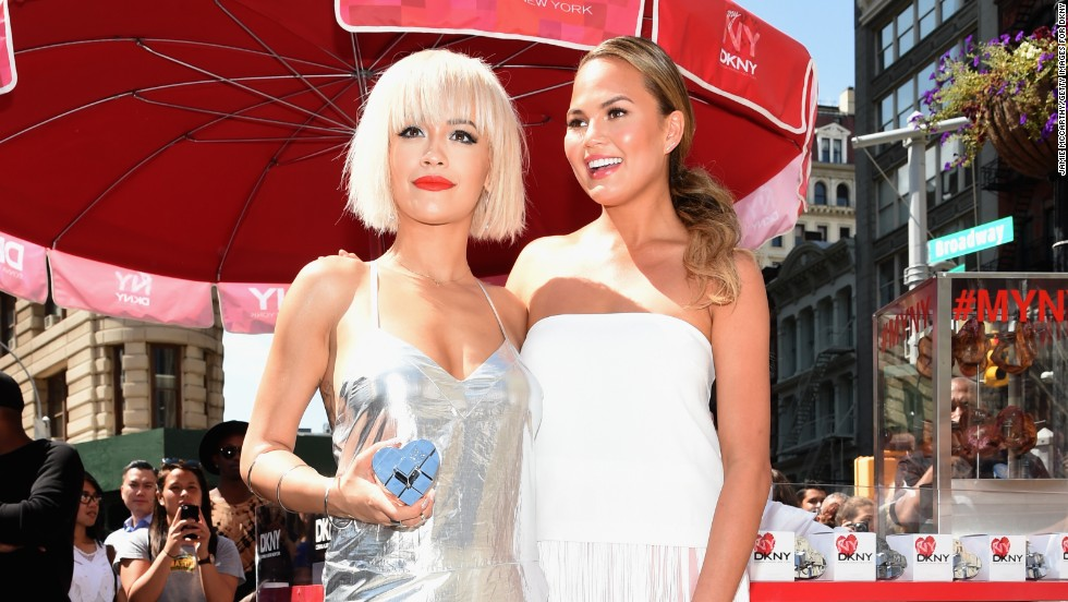 Rita Ora and Chrissy Teigen attend an event in New York City on August 19.