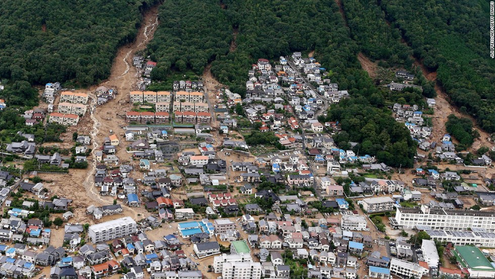 "This aerial view shows the damage caused by a landslide after heavy rains hit the city of Hiroshima, Japan, on Wednesday, August 20. At least 39 people were killed, and authorities fear the number could be much higher because the landslides <a href=""http://www.cnn.com/2014/08/20/asia/gallery/hiroshima-landslide/index.html"">hit a crowded residential area.</a>"